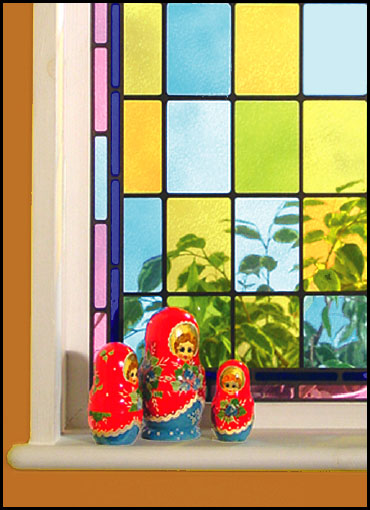 You can choose from stained glass or etch patterned glass transfers using corners and borders producing a variety of the victorian windows that are so